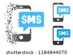 phone sms icon in dispersed ... | Shutterstock .eps vector #1184844070