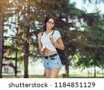 young woman traveler in casual... | Shutterstock . vector #1184851129