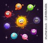 funny cartoon fantasy solar... | Shutterstock .eps vector #1184864686