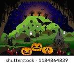 halloween night at cave | Shutterstock .eps vector #1184864839
