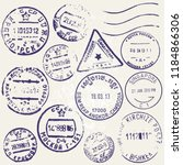 vector set of vintage postage... | Shutterstock .eps vector #1184866306