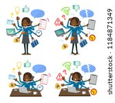 a set of school girl who... | Shutterstock .eps vector #1184871349