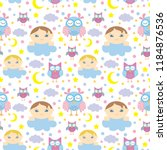 seamless pattern with cute... | Shutterstock .eps vector #1184876536