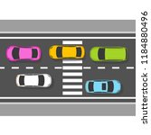 top view of cars on road  ... | Shutterstock .eps vector #1184880496