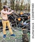 man brutal attractive guy... | Shutterstock . vector #1184899480