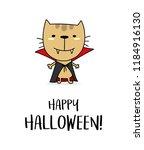 happy halloween greeting card... | Shutterstock .eps vector #1184916130
