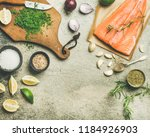 cooking salted salmon fish.... | Shutterstock . vector #1184926903