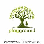 tree with a child play the... | Shutterstock .eps vector #1184928100