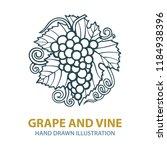 hand drawn grape vine... | Shutterstock .eps vector #1184938396