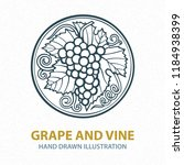 hand drawn grape vine... | Shutterstock .eps vector #1184938399