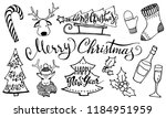 doodle christmas set. cute hand ... | Shutterstock .eps vector #1184951959