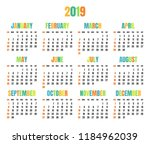 vector 2019 annual monthly... | Shutterstock .eps vector #1184962039