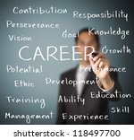 business man writing career