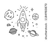 Space Doodle. Hand Drawn Black...