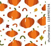 pumpkin seamless pattern. vector | Shutterstock .eps vector #1184985196