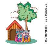 superhero animals cartoons | Shutterstock .eps vector #1185000823