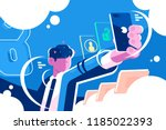 man holding smartphone getting... | Shutterstock .eps vector #1185022393