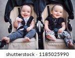 Adorable Twin Baby Boys Sittin...