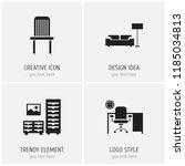 set of 4 editable furnishings... | Shutterstock .eps vector #1185034813