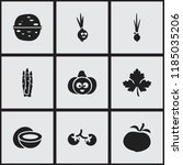 set of 9 editable cooking icons.... | Shutterstock .eps vector #1185035206
