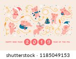 greeting card with cute cartoon ... | Shutterstock .eps vector #1185049153