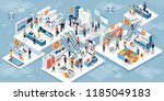 happy people shopping together... | Shutterstock .eps vector #1185049183