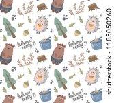 cute woodland animals vector... | Shutterstock .eps vector #1185050260