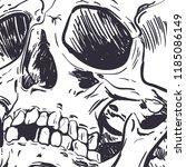 human skull vector art. hand... | Shutterstock .eps vector #1185086149