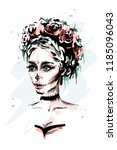 hand drawn beautiful young... | Shutterstock .eps vector #1185096043