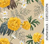gorgeous yellow peonies and... | Shutterstock .eps vector #1185120196