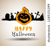 halloween background  pumpkin.... | Shutterstock .eps vector #1185151399
