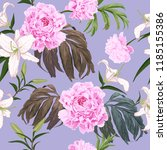 pink peonies  light lilies and... | Shutterstock .eps vector #1185155386