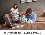 family   young parent spending... | Shutterstock . vector #1185159673