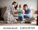 happy family   mother and... | Shutterstock . vector #1185159709