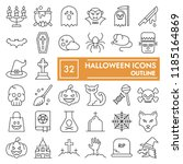 halloween thin line icon set ... | Shutterstock .eps vector #1185164869