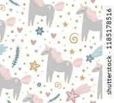 cute hand drawn girl unicorn... | Shutterstock .eps vector #1185178516