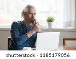 serious thoughtful mature... | Shutterstock . vector #1185179056