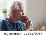 worried serious mature senior... | Shutterstock . vector #1185179059