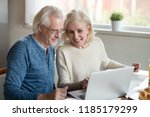 happy old family couple talking ... | Shutterstock . vector #1185179299