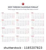 2019 calendar in turkish... | Shutterstock .eps vector #1185207823