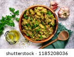grilled eggplant salad with... | Shutterstock . vector #1185208036