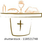 holy communion   altar and... | Shutterstock .eps vector #118521748