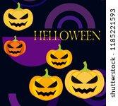 halloween pumpkin vector... | Shutterstock .eps vector #1185221593