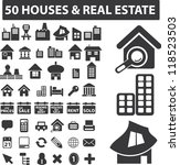 50 houses   real estate icons... | Shutterstock .eps vector #118523503