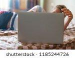 close up freelance male website ... | Shutterstock . vector #1185244726