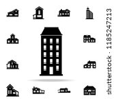 one block building  icon. house ... | Shutterstock . vector #1185247213