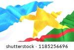 3d render  realistic wavy flag... | Shutterstock . vector #1185256696