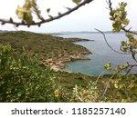 coast of aegean sea by temple... | Shutterstock . vector #1185257140