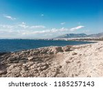 coast of aegean sea by athens... | Shutterstock . vector #1185257143