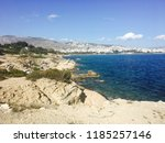coast of aegean sea by athens... | Shutterstock . vector #1185257146